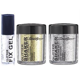 Stargazer Glitter sciolti Shaker con Glitter Fix Gel colla-argento, oro