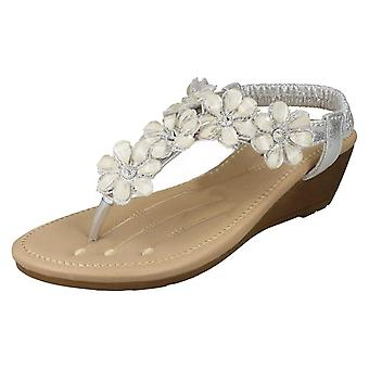 Las señoras Savannah mediados F10781 sandalias de cuña Toepost - sintético plata - tamaño de Reino Unido 7 - UE tamaño 40 - tamaño de los E.E.U.U. 9