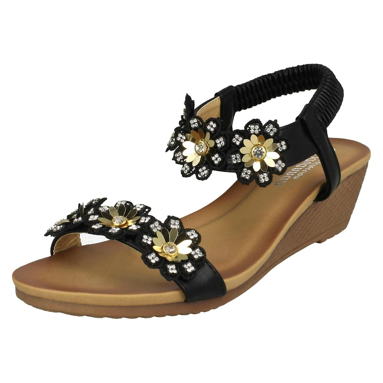 Ladies Savannah Mid Wedge Sandals F10789 - Black Synthetic - UK Size 4 - EU Size 37 - US Size 6
