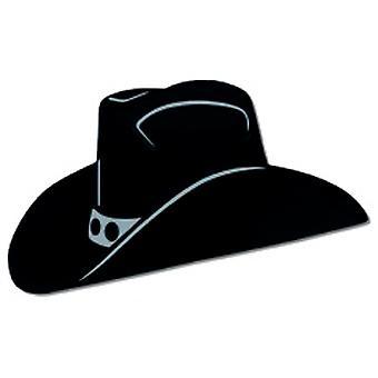 Svart folie cowboyhatt siluett (2 Per förpackning)