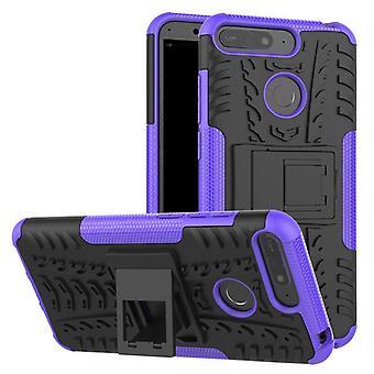 Pour Huawei Y6 2018 hybride cas 2 pièce SWL extérieur violet poche manchon couvercle protection