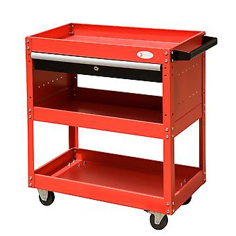DURHAND 3-tier Tool Trolley Cart Roller Cabinet Storage Box Workshop Lockable Casters Red