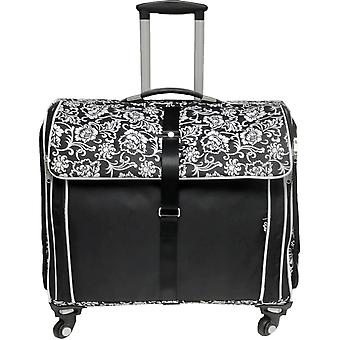 CGull Ultimate Craft Machine & Supplies Trolley Canvas Tote-Black With White Damask Florals