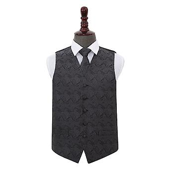 Carbone di legna grigio Paisley sposa gilet & Tie Set