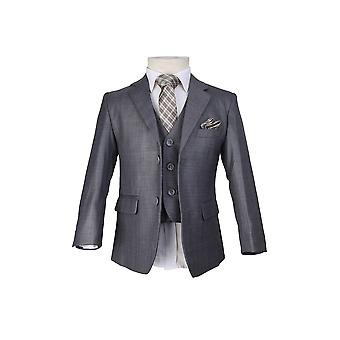 Boys PageBoy Grey Suit, 6 Piece Classic Kids Wedding Suit With Tie And Hankie