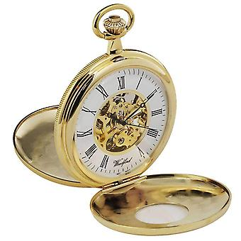 Woodford Gold Plated Double Half Hunter Skeleton Spring Wound Pocket Watch - Gold