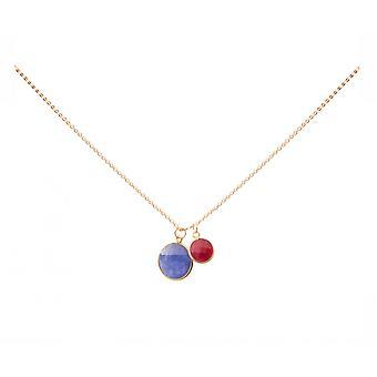 Gemshine - damas - collar - colgante - azul zafiro - rubí - - rojo - oro chapado en plata 925 - 45 cm