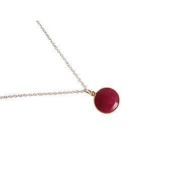 Gemshine - Panie - naszyjnik - srebro 925 - pozłacane - Ruby - Czerwony - CANDY - 45 cm