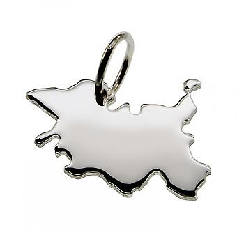 Trailer map Schleswig-Holstein in solid 925 Silver Pendant