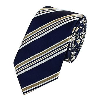 Tie stropdas tie stropdas smalle 6cm blauw/brons gestreepte Fabio Farini