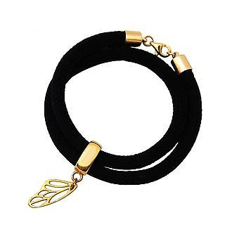 Damen - Armband - Wickelarmband - 925 Silber - Vergoldet - Schmetterling - Schwarz