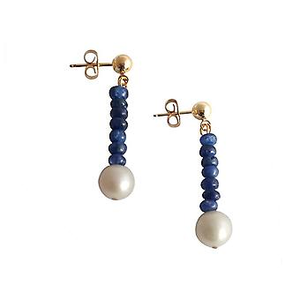 Pearl Earrings Sapphire earrings Sapphire Pearl Earrings gold plated