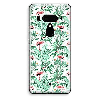 HTC U12+ Transparent Case - Flamingo leaves