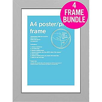 GB Posters 4 Silver A4 MDF Poster Frames 29.7 x 21cm Bundle