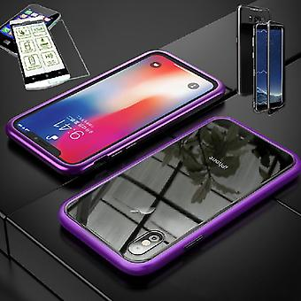 For Apple iPhone X 10 5.8 / 5.8 2018 XS magnet / metal / glass pouch case purple / transparent + 0.26 mm H9 hard glass
