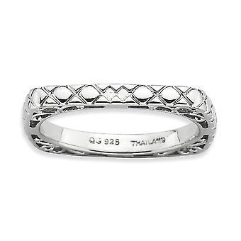 Argent Sterling 2,25 mm motifs Expressions empilable rhodié poli plaque Rhodium Square Ring - bague taille: 5