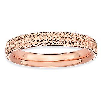 Sterling Silver polerat mönstrade stapelbar uttryck rosa-plated Ring - Ring storlek: 5 till 10
