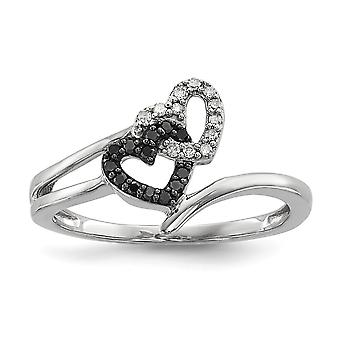 Sterling Silver Polished Prong set Open back Gift Boxed Rhodium-plated Black and White Diamond Heart Ring - Ring Size: 6