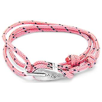 Anchor and Crew Tyne Silver and Rope Bracelet - Pink