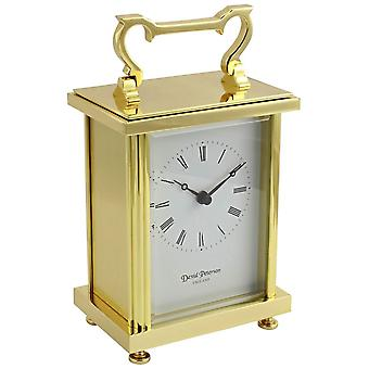 David Peterson Flat Brass Quartz Carriage Clock - Gold
