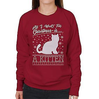 All I Want For Christmas Is een Kitten breien patroon vrouwen Sweatshirt