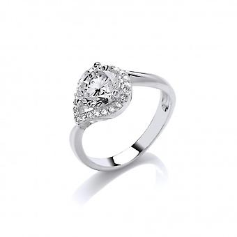 Cavendish francés plata y CZ Twisted Teardop anillo