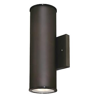Up and Down Light Dimmable LED Outdoor Wall Fixture MAYSLICK Bronze with Frosted Glass