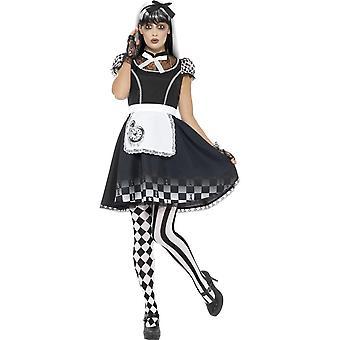 Traje de Alice gótico, negro, con vestido, delantal y diadema