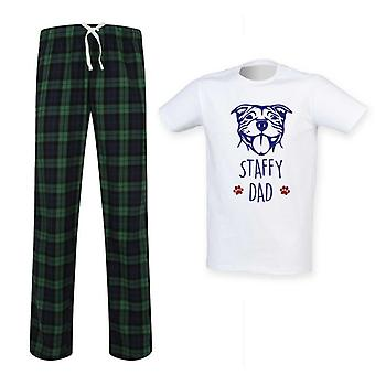Herre Staffy far Tartan pyjamas sæt