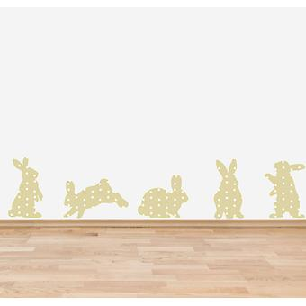 Full Colour Beige Shabby Chic Floral Rabbits Wall Sticker