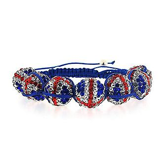 The Olivia Collection Union Jack Disco Ball Adjustable Length Bracelet