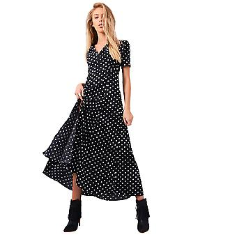 Lovemystyle Black Maxi Dress With White Polk-A-Dot Print
