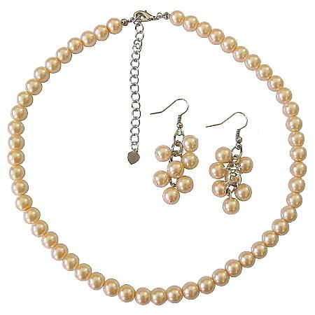 Peach Pearls Necklace Earrings Bridal Bridesmaid Gift Jewelry Set