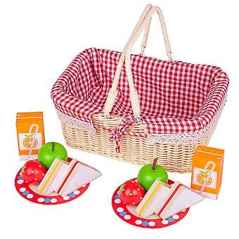 Bigjigs Toys Traditional Toy Picnic Basket with Play Food - Pretend Roleplay