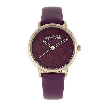 Sophie & Freda Breckenridge Leather-Band Watch - Gold/Purple