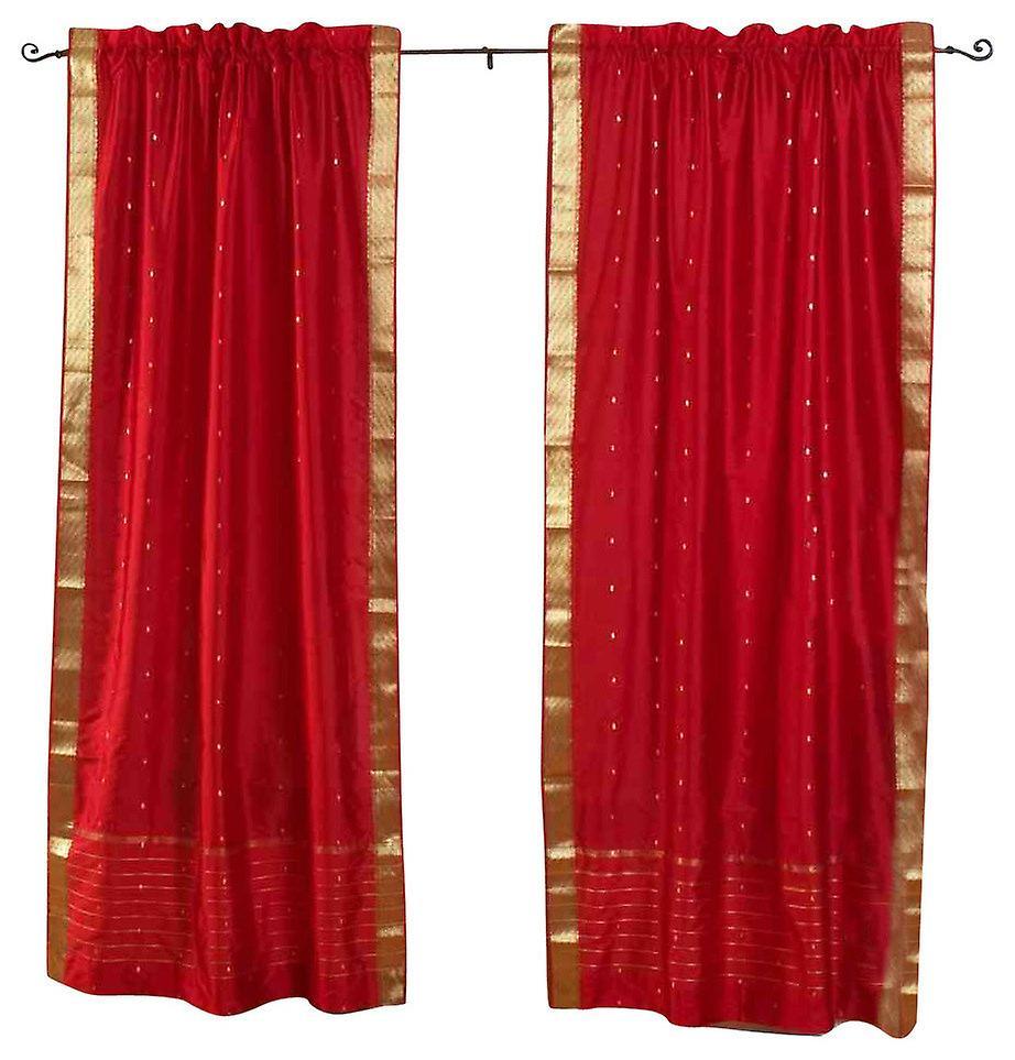 Brique Rod poche pure Sari rideau de feu   Drape   panneau - paire