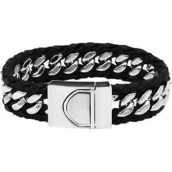 Clio Blue BR2172S-BLACK - Bracelet black leather steel man bracelet