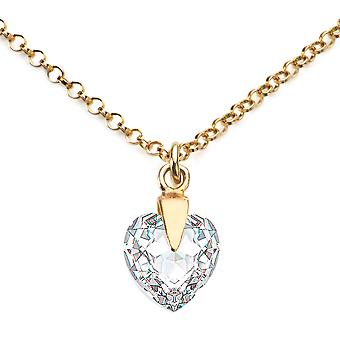 Ah Jewellery Clear Heart Crystals From Swarovski in 24k Gold
