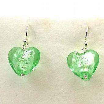 The Olivia Collection Sterling Silver Green Murano Glass Heart Drop Earrings