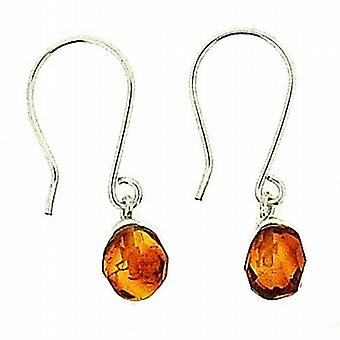 The Olivia Collection Sterling Silver Faceted Oval Cognac Amber Drop Earrings