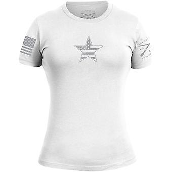 Grunt Style Women's Basic American Star T-Shirt - White