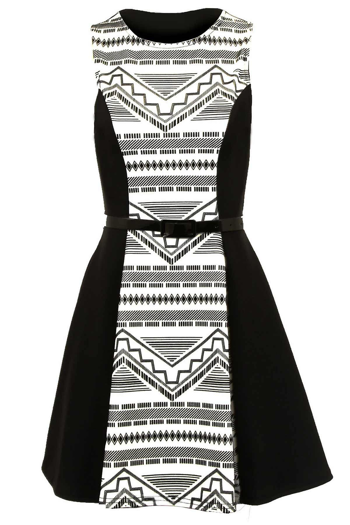Ladies Sleeveless Flock Panel Aztec Flare Belted Short Women's Dress