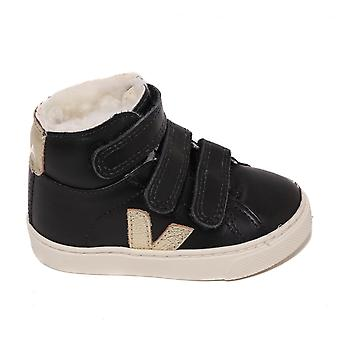 Veja Kids Esplar Mid High Top Trainer, Black Gold