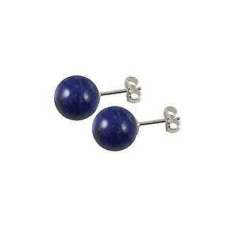 Eternal Collection Solo Lapis Lazuli Semi Precious Sterling Silver Stud Pierced Earrings