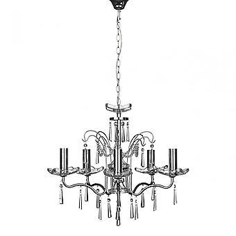 Premier Home Alexis kroonluchter, chroom, kristal, zilver