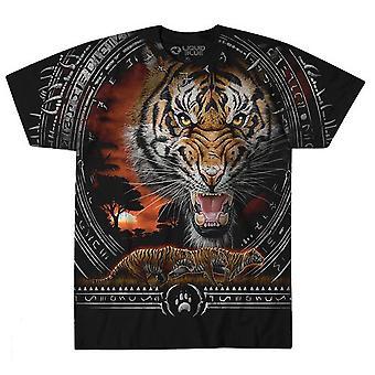 Liquid blue - tribal tiger - mens t-shirt