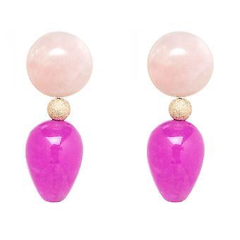 Gemshine earrings rose quartz and pink pink jade gemstone drops - Gold plated