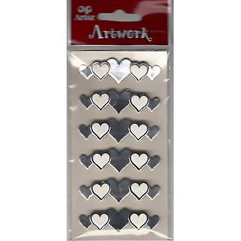 Silver Love Hearts Craft Embellishment By Artoz