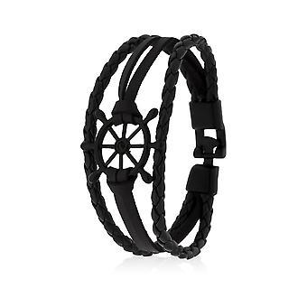 Skipper Armband Lederarmband Armschmuck Schiffsruder in Schwarz 8130