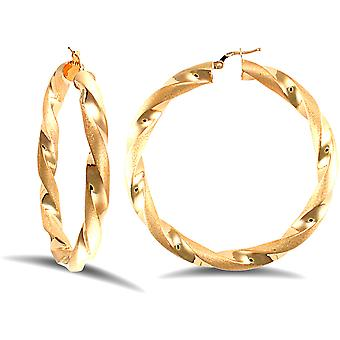 Jewelco London Ladies 9ct Yellow Gold Frosted Satin Chunky Twist 6mm Hoop Earrings 60mm